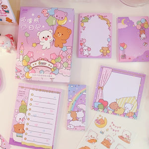 Cartoon kawaii Rabbit Notepad N Times stationery sticky Set note paper stationery sticker school supplies sticker bookmark