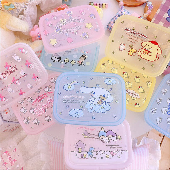 New PP Cartoon Melody Cinnamoroll Boxes Sealed Crisper Kitchen Refrigerator Storage Organizer Bento Lunch Box Food Container