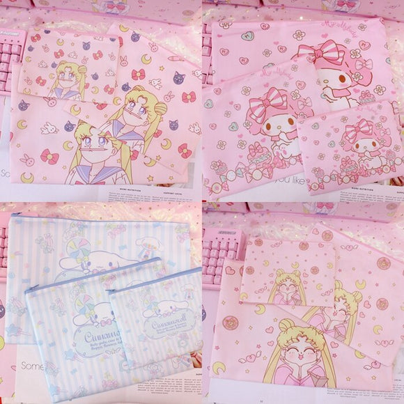 3pcs/set Canvas Cartoon Melody Girls A4 A5 A6 document bag student stationery Storage Bags