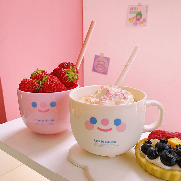 Creative Plastic Water Bottle With Straw Cute Smile Face Water Cup With Lid Fruit Salad Breakfast Milk Mugs Coffee Cups