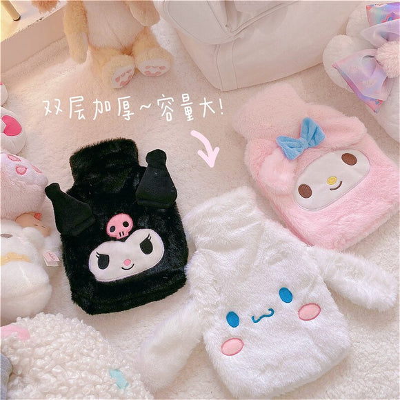 Winter Cartoon Melody Hot Water Bottle PVC Stress Pain Relief Therapy Hot Water Bag With Knitted Soft Cozy Cover Hand Warmer