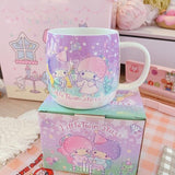 1 Piece Melody Cinnamoroll Cartoon Ceramic Water Cup Coffee Milk Mug Home Office Collection Cups Women Girl Gifts