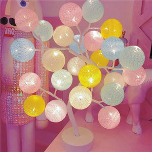 Lovely Cotton Colorful Ball Tree Lights Easter Outdoor Holiday Wedding Party Girls Bedroom Fairy Lights Home Decoration