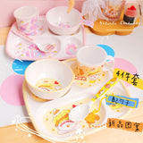 Creative Cartoon Children Tableware Dishes Dish Spoon Cup Four-piece Suit Anti-fall and Anti-scald Household Tableware