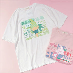 Harajuku Short Sleeve T-shirt Top Japanese Pastel