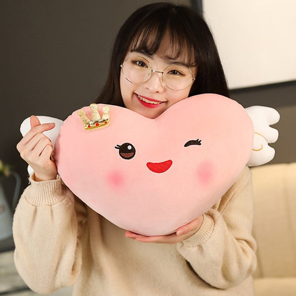 Smiley Pink Heart with Gold Crown and White Angel Wings Plush