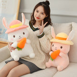 Country Bunny Rabbit Plush with Carrot and Hat