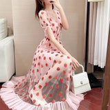 Strawberry Sequin Midi Dress Puff Short Sleeve V-neck Lace High Waist Pink Red