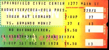 LEONARD, SUGAR RAY-ARMANDO MUNIZ STUBLESS TICKET (1978)