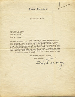 TUNNEY, GENE SIGNED LETTER (AS CHAMPION)