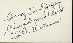 WILLIAMS, IKE SIGNED INDEX CARD