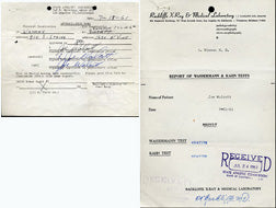 WALCOTT, JERSEY JOE SIGNED MEDICAL FORM (SIGNED 3 TIMES)