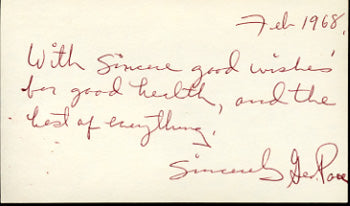 PACE, GEORGIE SIGNED INDEX CARD