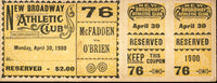"MCFADDEN, GEORGE ""ELBOWS""-JACK O'BRIEN FULL TICKET (1900)"