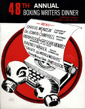MONZON, CARLOS BOXING WRITERS DINNER PROGRAM (FIGHTER OF YEAR)