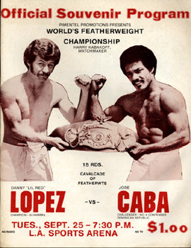 "SANCHEZ, SALVADOR-RICHARD ROZELLE & DANNY ""LITTLE RED"" LOPEZ-JOSE CABA OFFICIAL PROGRAM (1979)"