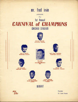 CARNIVAL OF CHAMPIONS EXHIBITION PROGRAM (1949-CHARLES, LOUIS, ROBINSON, PEP, SADDLER, LAMOTTA)