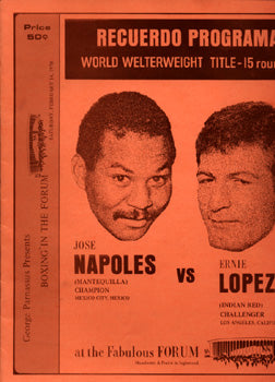 NAPOLES, JOSE-ERNIE LOPEZ OFFICIAL PROGRAM (1970)