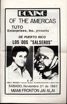 ESCALERA, ALFREDO_JOHNNY TORRES OFFICIAL PROGRAM (1981)