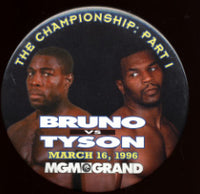 TYSON, MIKE-FRANK BRUNO SOUVENIR PIN (1996)