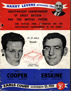 COOPER, HENRY-JOE ERSKINE OFFICIAL PROGRAM (1959)