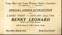 LEONARD, BENNY ANNOUNCEMENT POSTCARD (1924)