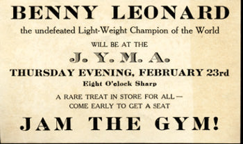 LEONARD, BENNY APPEARANCE ANNOUNCEMENT