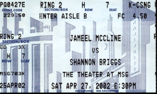 MCCLINE, JAMEEL-SHANNON BIGGS STUBLESS TICKET (2002)