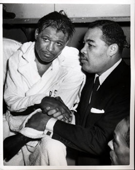 ROBINSON, SUGAR RAY & JOE LOUIS WIRE PHOTO (1952)