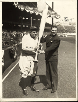 DEMPSEY, JACK & BABE RUTH WIRE PHOTO