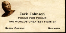 JOHNSON, JACK BUSINESS CARD (OF HIS MANAGER)