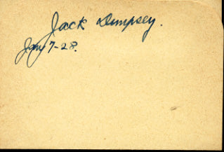 DEMPSEY, JACK INK SIGNED ALBUM PAGE (1928)