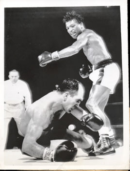 ROBINSON, SUGAR RAY-JOE RINDONE ORIGINAL WIRE PHOTO (1955)