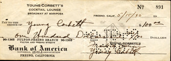 CORBETT III, YOUNG SIGNED CHECK