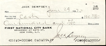 DEMPSEY, JACK SIGNED CHECK