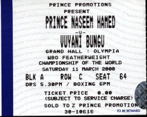 HAMED, PRINCE NASEEM-VUYANI BUNGU STUBLESS TICKET (2000)