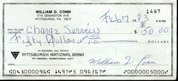 CONN, BILLY SIGNED CHECK