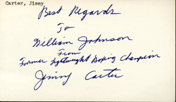 CARTER, JIMMY SIGNED INDEX CARD