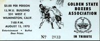 GOLDEN STATE BOXERS ASSOCIATION TICKET (1970)