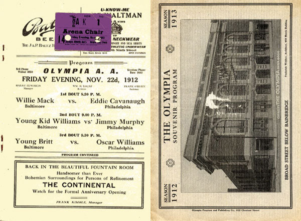 WILLIAMS, KID-HARRY SMITH OFFICIAL PROGRAM & TICKET STUB (1912)