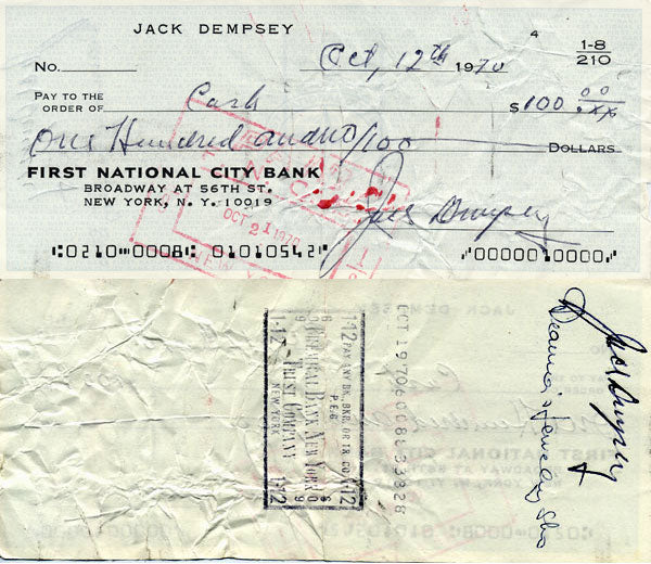 DEMPSEY, JACK SIGNED CHECK (SIGNED TWICE)