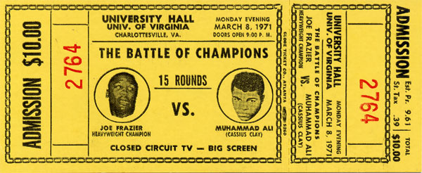 ALI, MUHAMMAD-JOE FRAZIER I FULL CLOSED CIRCUIT TICKET (1971)