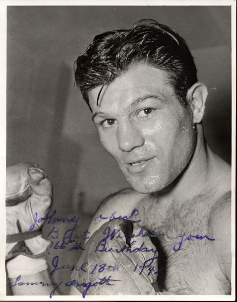 ANGOTT, SAMMY SIGNED PHOTO (TO FIGHTER JOHNNY OBECK)