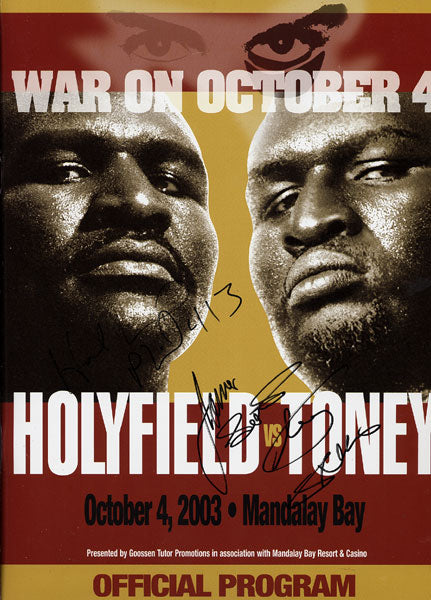 HOLYFIELD, EVANDER-JAMES TONEY SIGNED OFFICIAL PROGRAM (2003-SIGNED BY BOTH)
