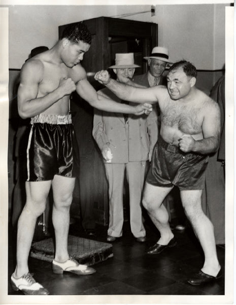 LOUIS, JOE-TONY GALENTO WIRE PHOTO (1939-WEIGH IN)