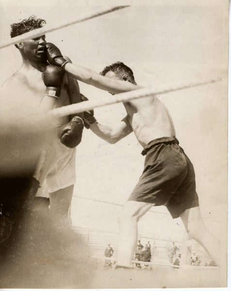 DEMPSEY, JACK-TOMMY GIBBONS ORIGINAL ANTIQUE WIRE PHOTO (1923-JUST BEFORE THE FIGHT)
