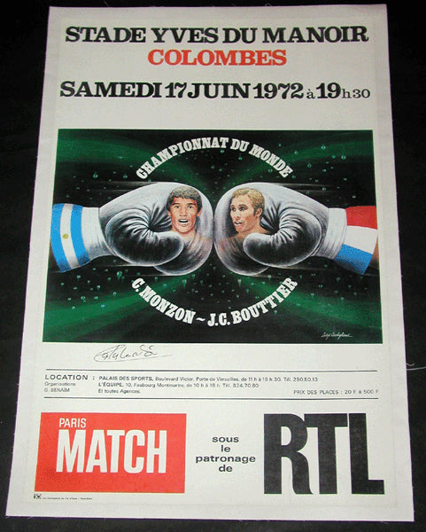 MONZON, CARLOS JEAN CLAUDE BOUTTIER ON SITE POSTER (1972-SIGNED BY MONZON)