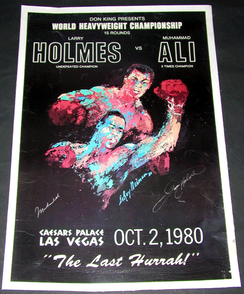 ALI, MUHAMMAD-LARRY HOLMES SIGNED ON SITE POSTER (1980-SIGNED BY BOTH)