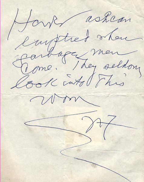 FLEISCHER, NAT HAND WRITTEN NOTE