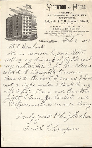MAHER, PETER HAND WRITTEN & SIGNED LETTER (1896)
